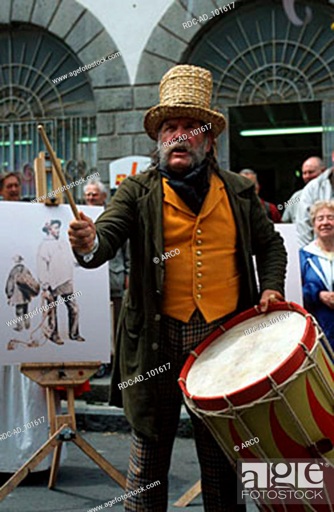Stock Photo: Drummer at the traditional market 'Le Viaer Marche' St. Peter Port Guernsey Channel Islands Great Britain drum.