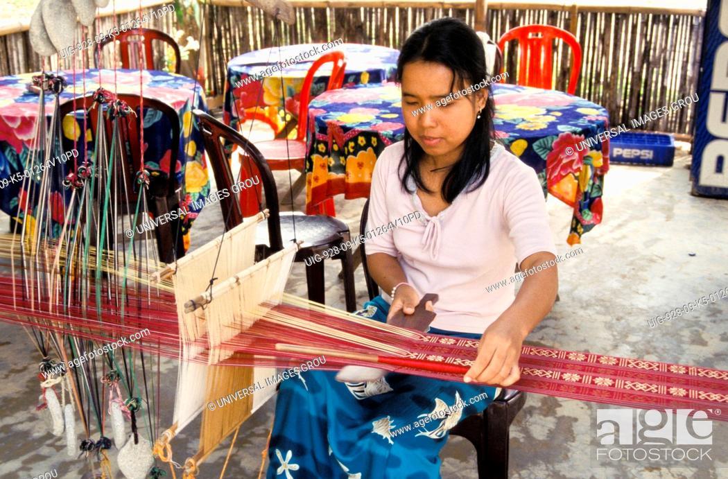 Stock Photo: Vietnam. Weaver.