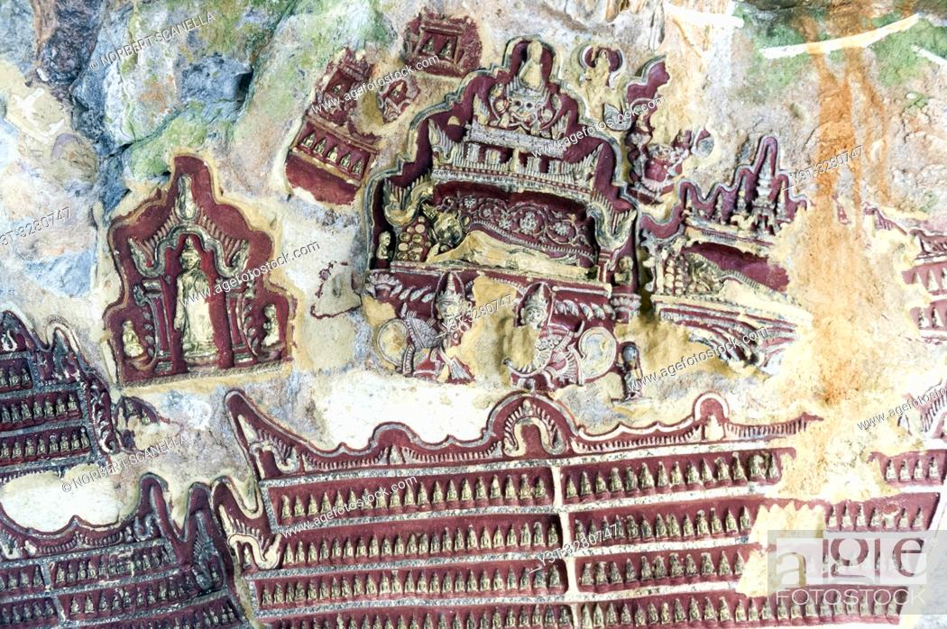 Stock Photo: Myanmar (formerly Burma). Kayin State (Karen State). Hpa An. Kaw Gon (Kaw Goon) cave, dated 7th century.