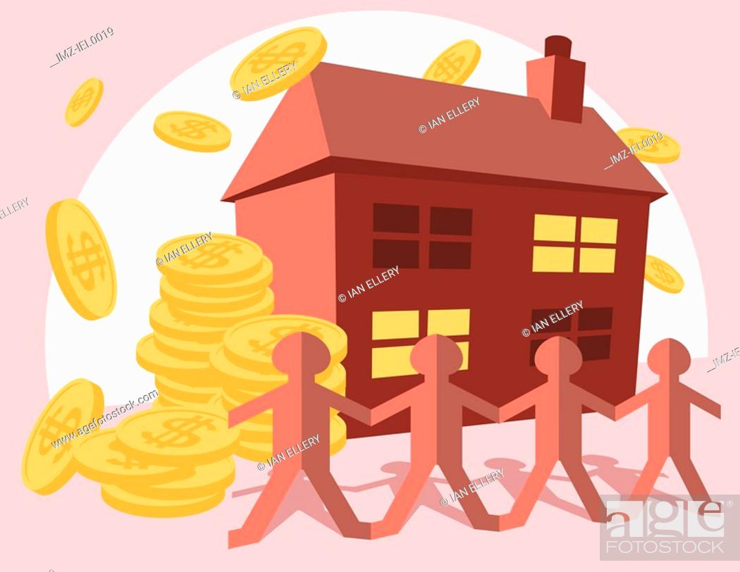 Stock Photo: A graphical illustration combining buildings, large dollar coins and small male figures banding together.