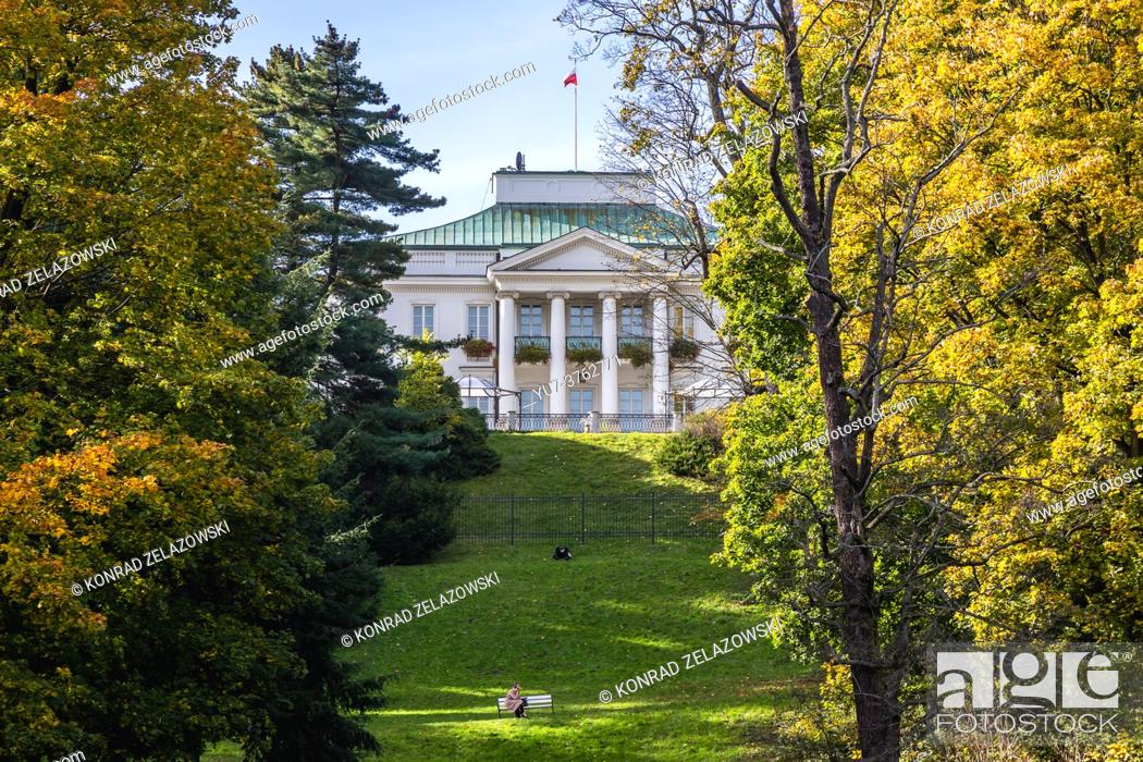 Stock Photo: Belvedere Palace seen from Lazienkowski Park also called Lazienki Park - Royal Baths, largest park in Warsaw city, Poland.