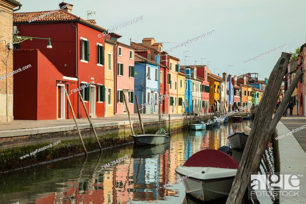 Stock Photo: Spring afternoon on the island of Burano, Venice, Italy.