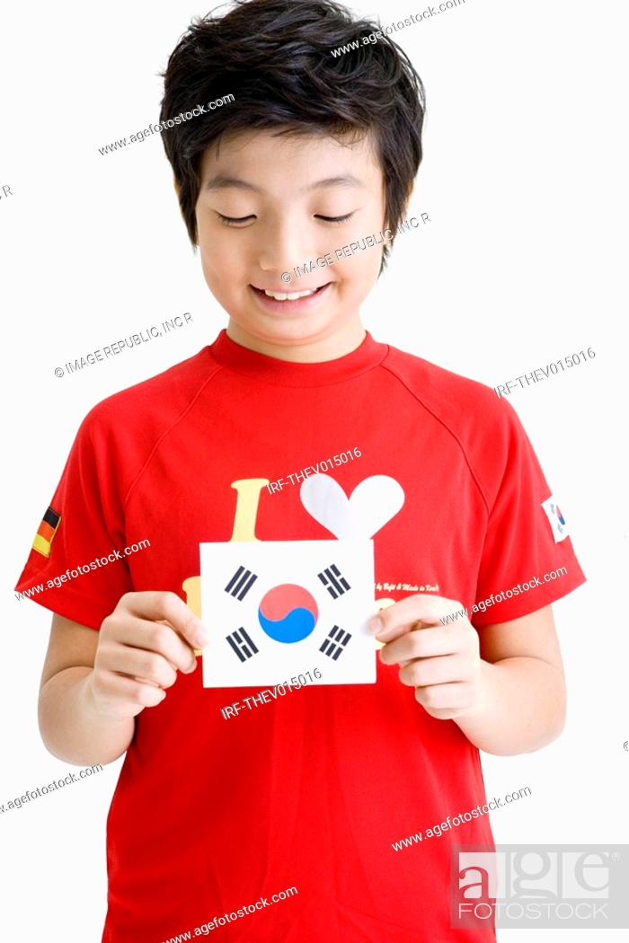 Stock Photo: boy holing Korean flag, Taegeukgi.