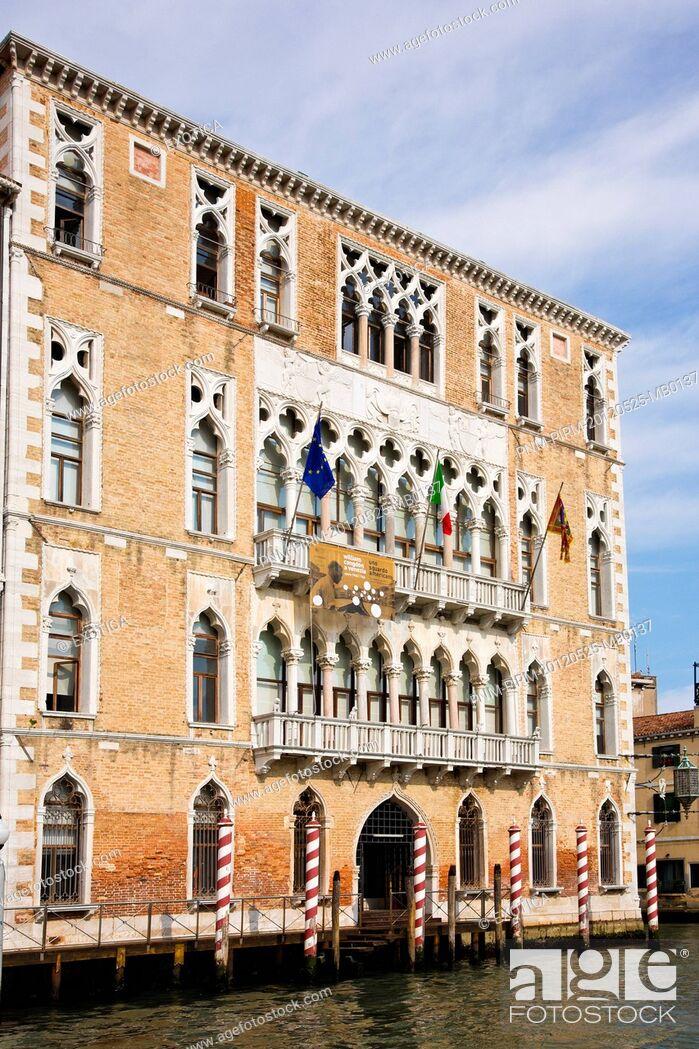 Stock Photo: Building along a canal, Venice, Veneto, Italy.