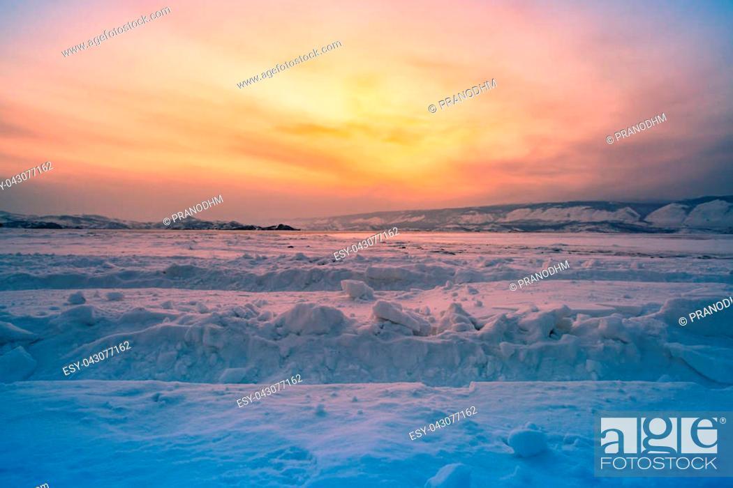 Beautiful After Sunset Sky At Baikal Lake Winter Season Natural