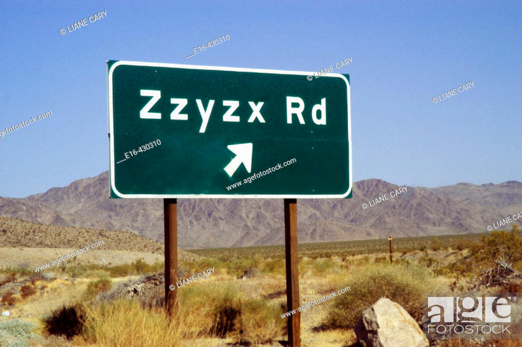 Stock Photo: Zzyzx road sign. California, USA.