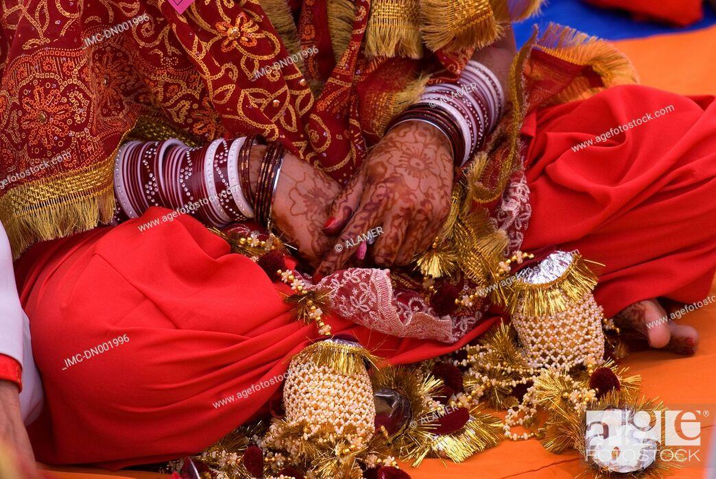 Stock Photo: India, Punjab, Tarn Taran, tattos of a young sikh bride.