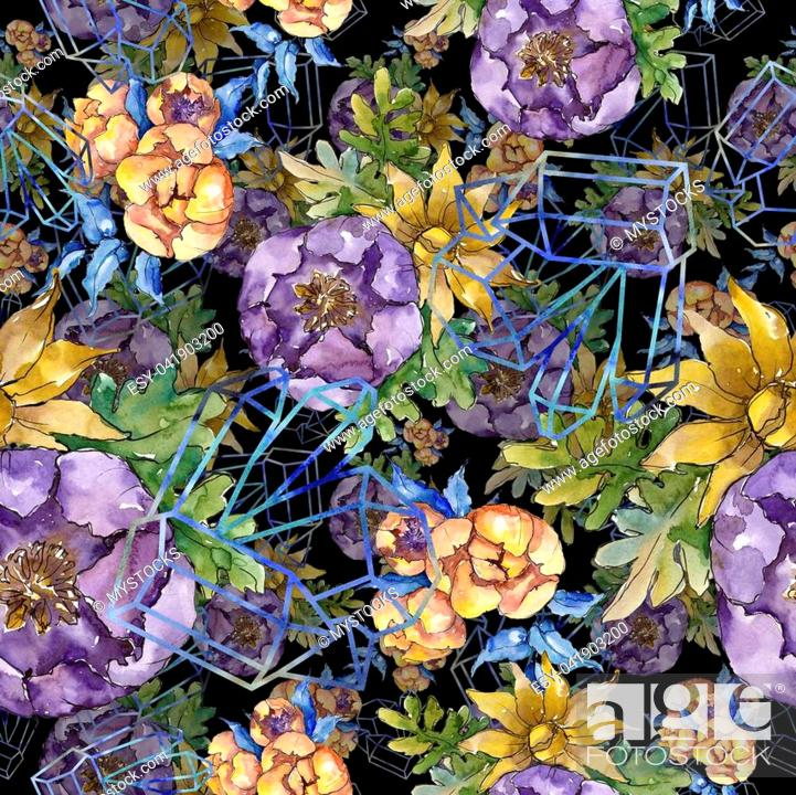 Watercolor Colorful Bouquet Flowers Seamless Background Pattern
