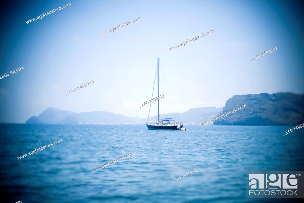 Stock Photo: Boat blurred in Almeria, Spain.