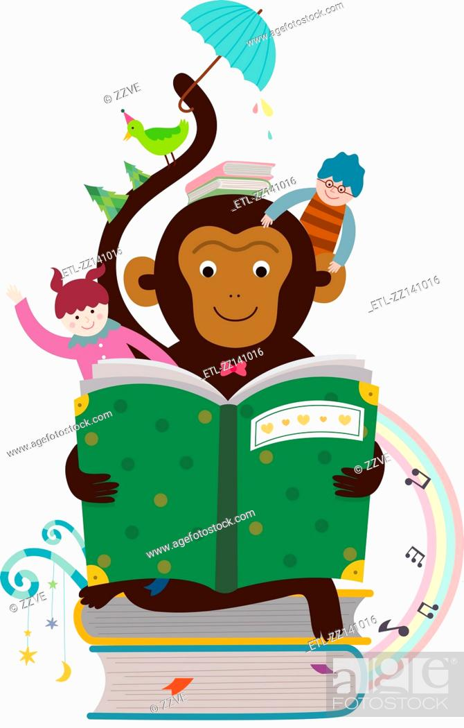 Stock Photo: Reading a book monkey.