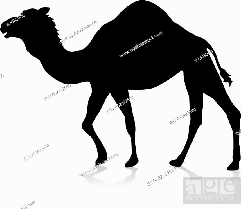 Stock Vector: An animal silhouette of a camel.