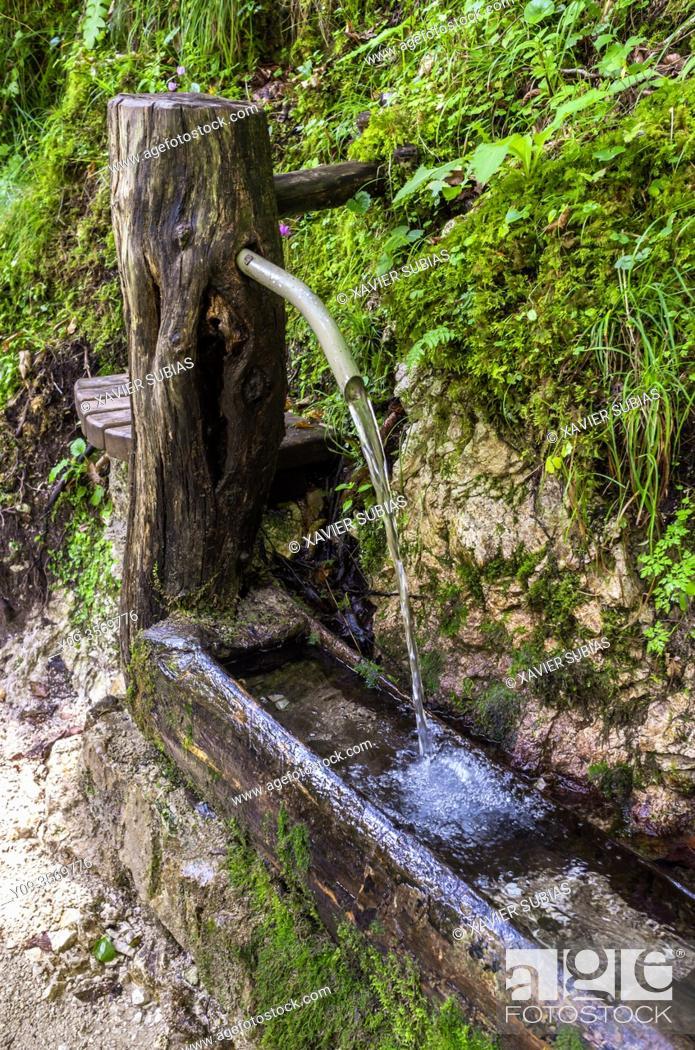 Stock Photo: Fountain, Tolmin Gorge, Triglav National Park, Slovenia.
