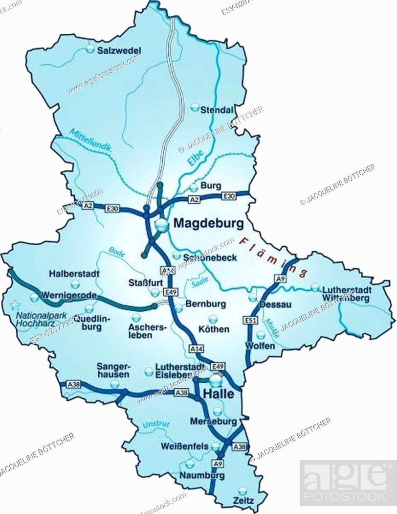 Karte Von Sachsen Anhalt Mit Verkehrsnetz In Blau Stock Vector