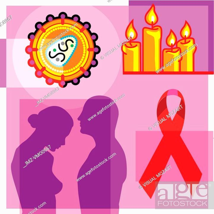 Stock Photo: Montage illustration about the AIDS pandemic containing a couple, AIDS virus, AIDS ribbon, and candle vigil.