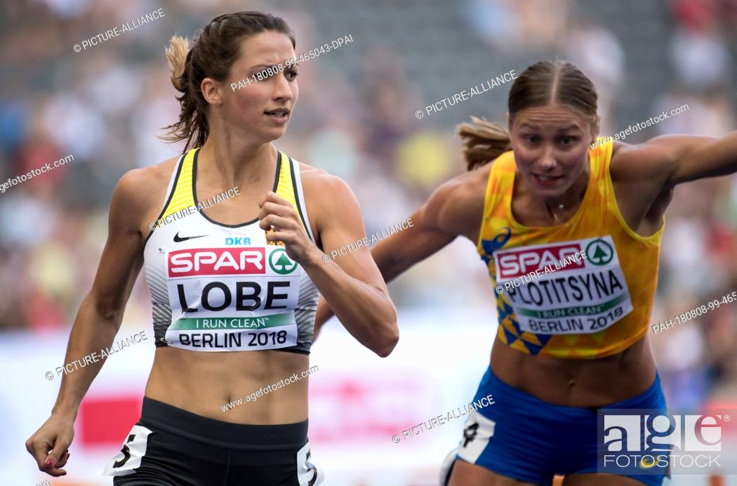 Stock Photo: 08.08.2018, Berlin: Track and Field: European Championships in the Olympic Stadium: 100m Hurdles, Preliminary, Women: Ricarda Lobe (l) from Germany will finish.