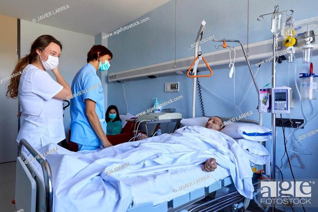 Stock Photo: Patient, isolation room, Sterile area, Transplant unit, Hematology, Hospital Donostia, San Sebastian, Gipuzkoa, Basque Country, Spain.