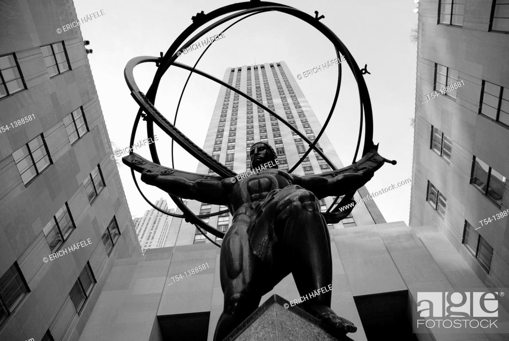 Stock Photo: Figure of Atlas in front of the Rockefeller Center in New York.