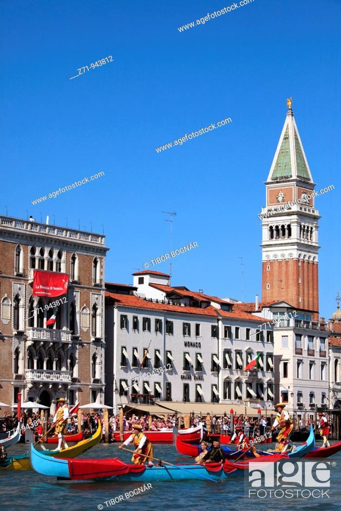 Stock Photo: Italy, Venice, historic regatta, boats, people, traditions.