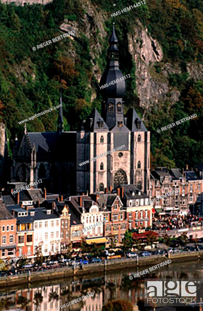 Stock Photo: Belgium, Wallonia, Dinant, the collegiate church Our Lady on the edges of the Meuse.