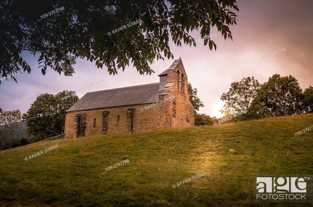 Stock Photo: Chapel of Saint-Pé de la Moraine, Garin, Hautes Pyrenees department, Occitanie, France.