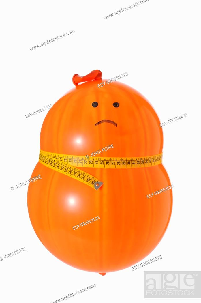 Stock Photo: obese balloon dieting on white background.