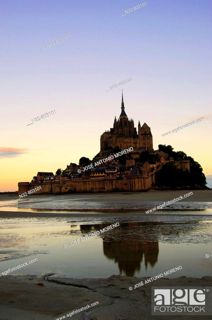 Stock Photo: Mont-Saint-Michel Benedictine abbey  Normandy  France.