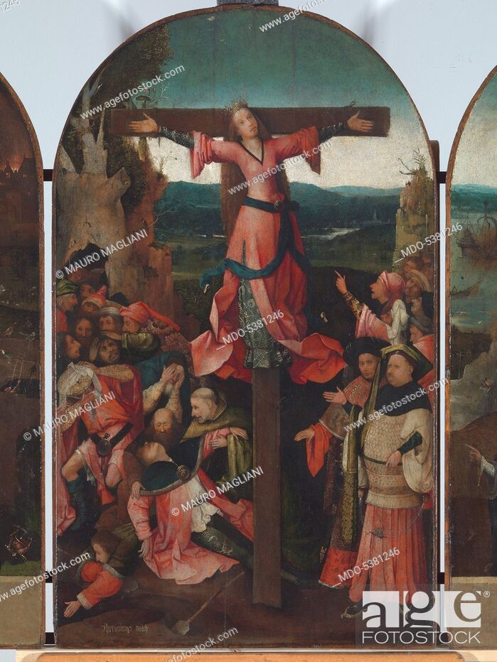 Stock Photo: Triptych of the Crucified Martyr (Triptych of St Julia), by Joren Anthoniszoon Van Aeken known as Bosch Hieronymus, 1500 - 1504, 16th Century, oil on panel.