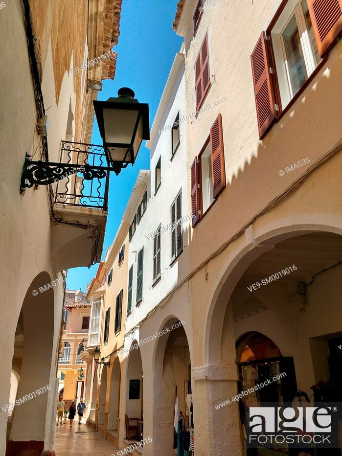 Stock Photo: Ciutadella Menorca Ses Voltes arches Ciudadela downtown in Balearic islands.
