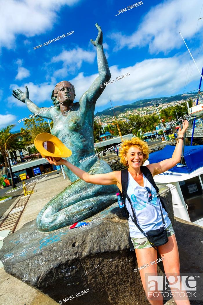 Stock Photo: Estatua de La Sirenota statue. Marina. Funchal, Madeira, Portugal, Europe.