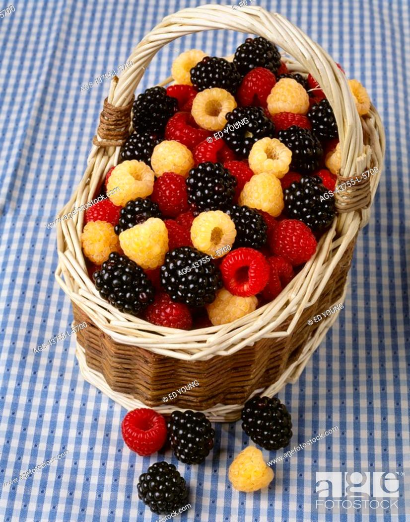 Stock Photo: Agriculture - Red raspberries, golden raspberries and blackberries in a basket on a blue checkered tablecloth.