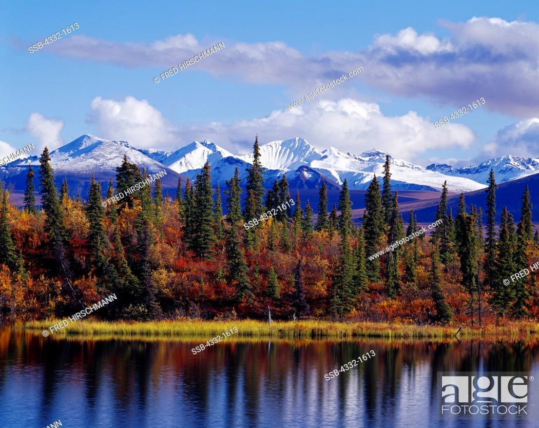 Stock Photo: Autumn view of Rock Lake with the Wrangell Mountains to the southeast, Wrangell-St. Elias National Park and Preserve, Alaska.