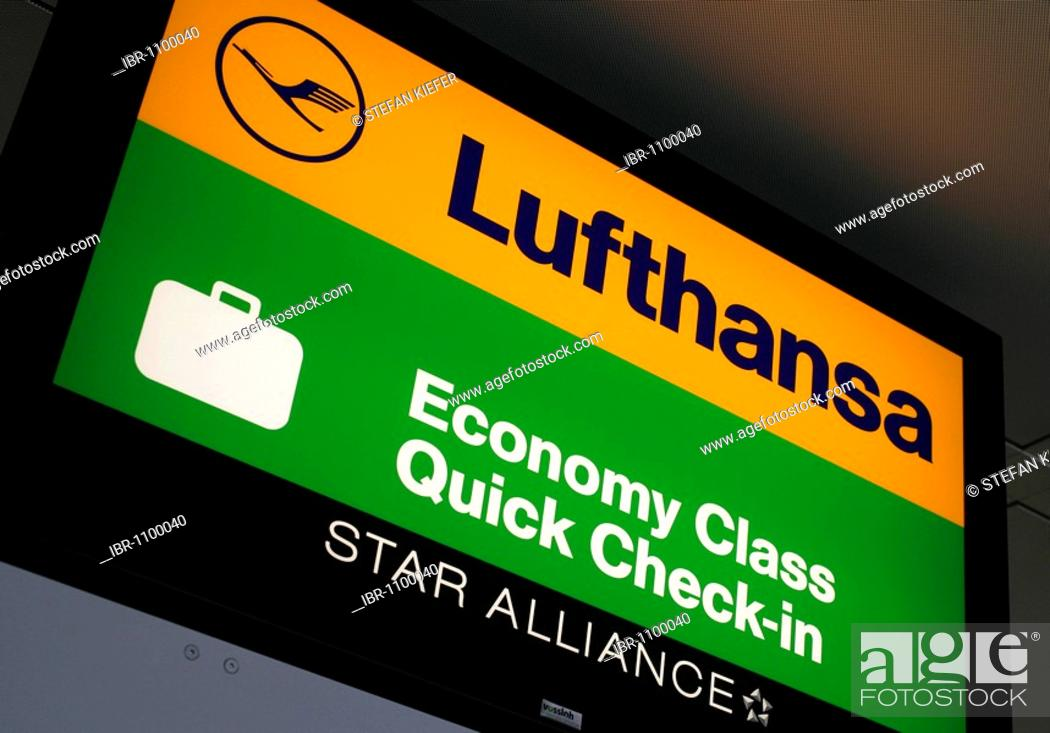 Stock Photo: Sign at the Quick-Check-in-Counter of the Lufthansa Economy class, Terminal 2 of Munich Airport, Franz-Josef-Strauss Airport, Munich, Bavaria, Germany, Europe.
