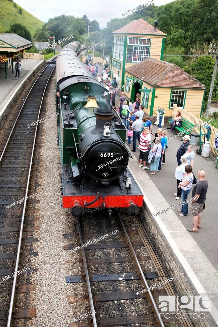 Stock Photo: Corfe Castle Railway Station, Swanage Steam Railway, Dorset, England, UK.