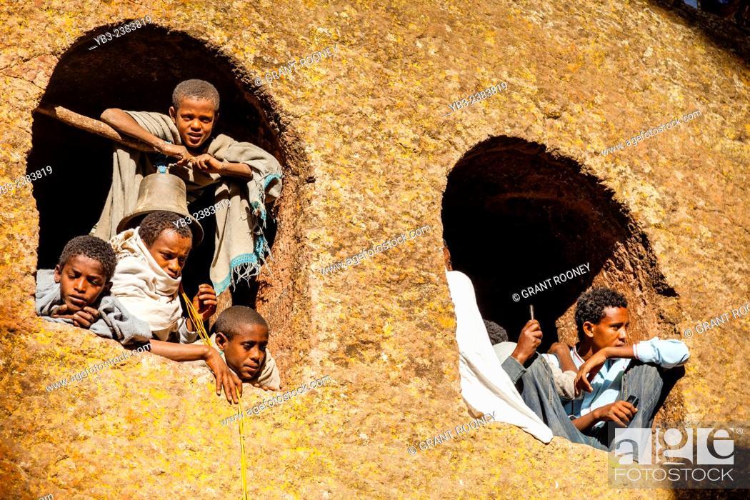Stock Photo: Local Children Watching The Christmas Day Celebrations, Beite Maryam Church, Lalibela, Ethiopia.