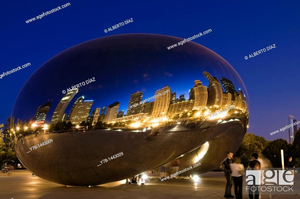 Stock Photo: Reflections on the evening of the city of Chicago in the work 'Cloud Gate' by British artist Anish Kapoor Indian origin.