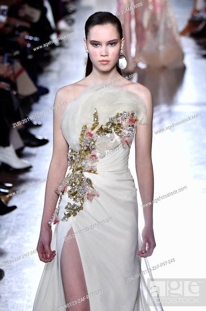 Stock Photo: January 23, 2019 - Paris, FRANCE - Elie Saab.. Model On Catwalk, Paris Haute Couture Fashion Week 2019 HC Ready To Wear For Spring Summer, Defile.
