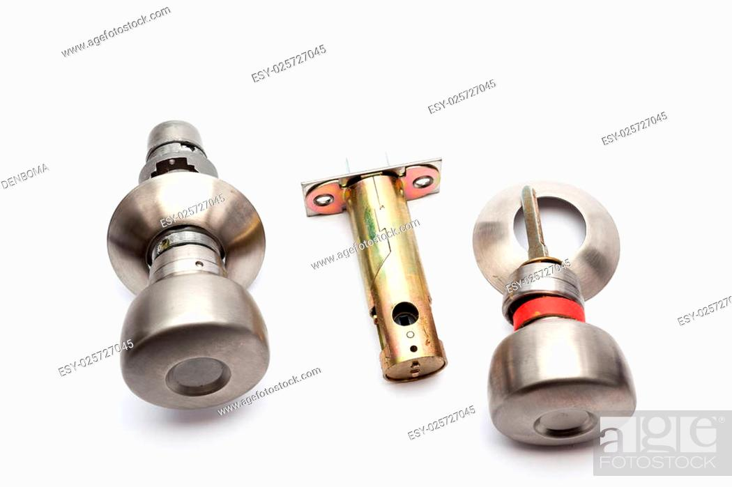 Photo de stock: an tubular lock to install it in an wooden door.