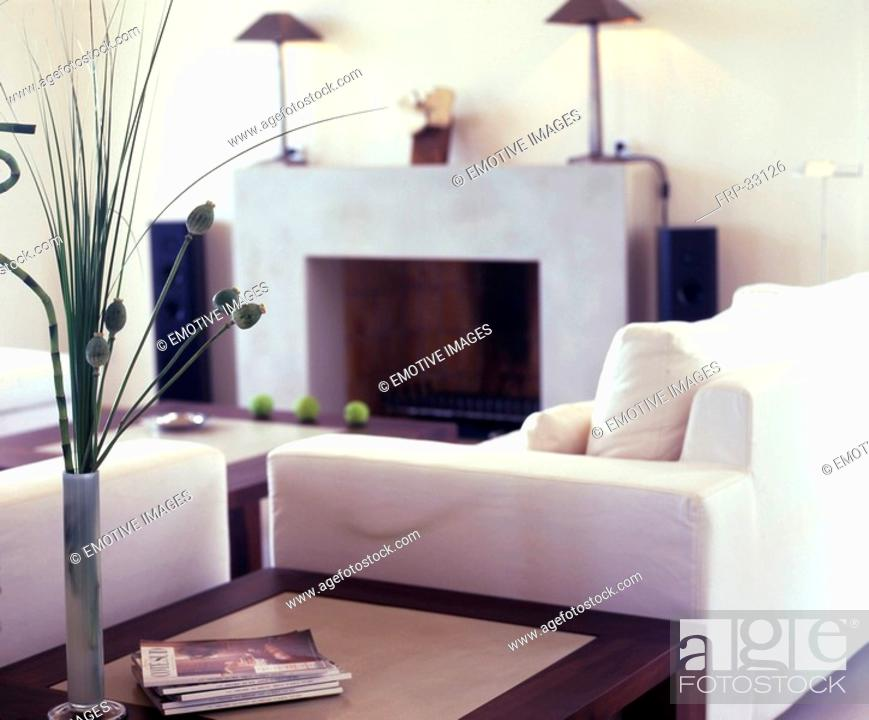 Stock Photo: Fireplace room in white.