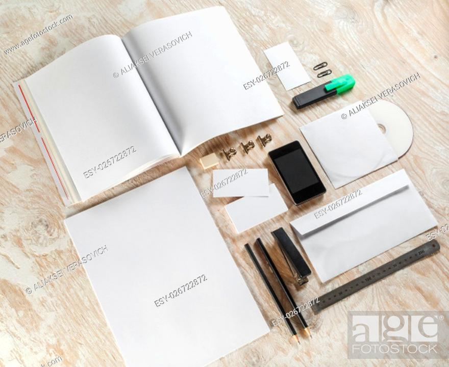 Stock Photo: Photo of blank stationery set. Corporate identity template on light wooden background. For design presentations and portfolios.