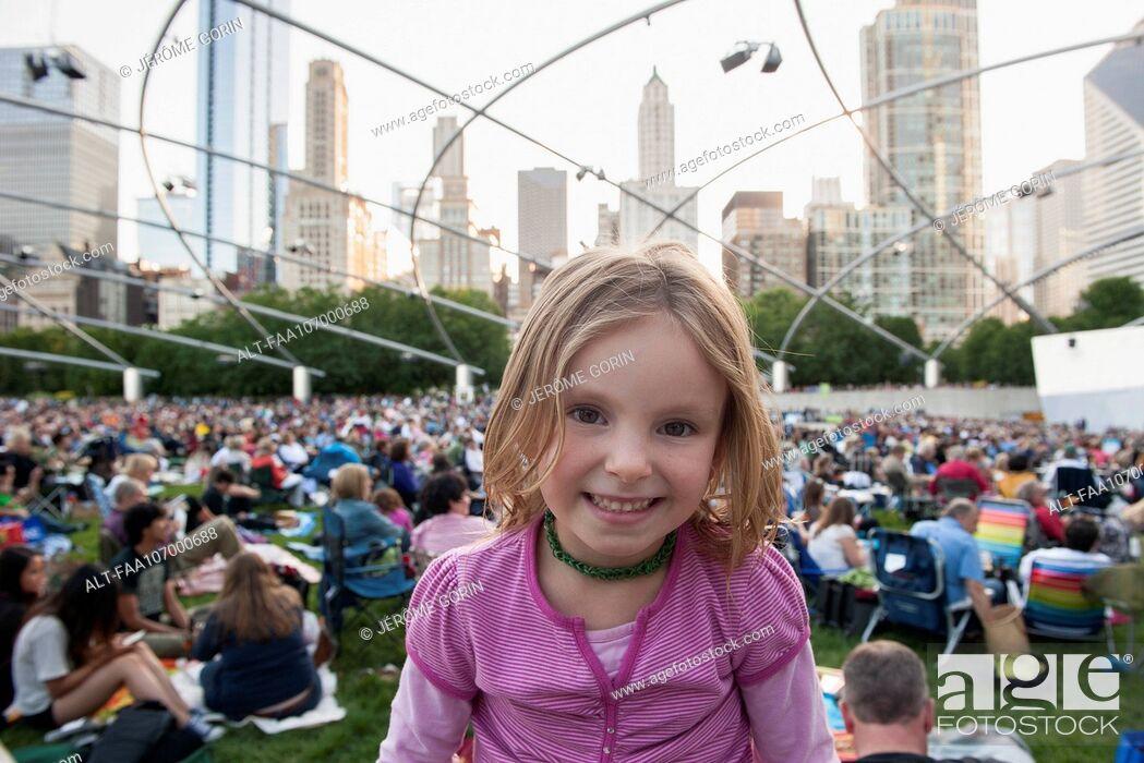 Stock Photo: Little girl at Jay Pritzker Pavilion, Millennium Park, Chicago, Illinois, USA.