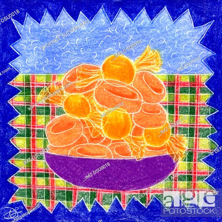 Stock Photo: A drawing of a bowl of butterscotch candy.