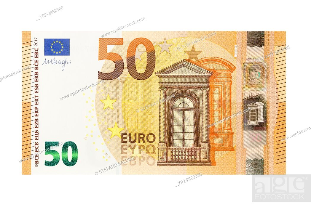 Imagen: Fifty Euro banknote on a white background.