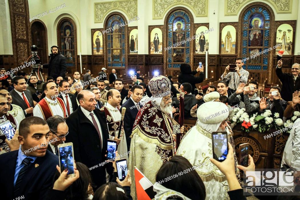 Stock Photo: 06 January 2020, Egypt, Cairo: Pope Tawadros II of Alexandria and Patriarch of the See of St. Mark, leads the Coptic Orthodox Christmas eve Mass.