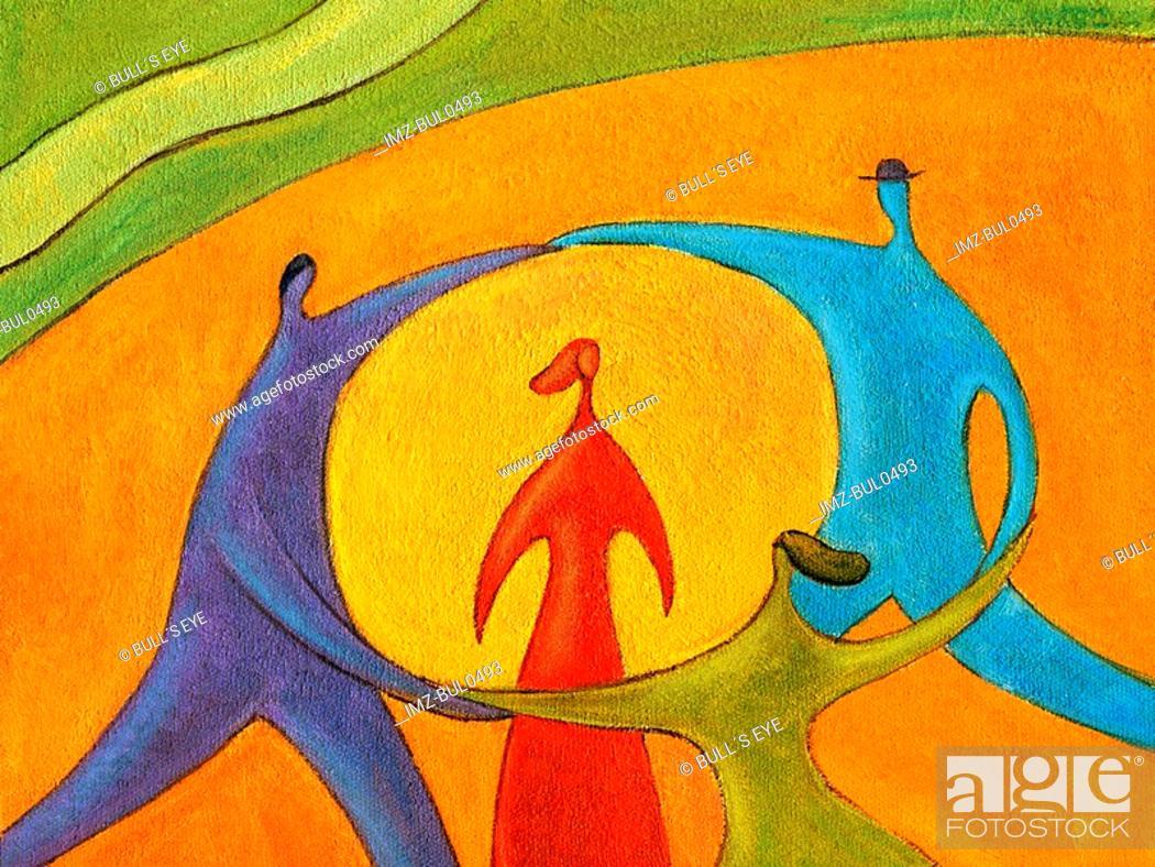 Stock Photo: People dancing circle around woman.