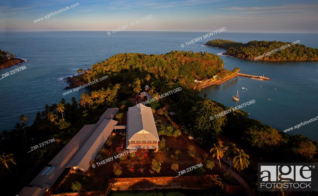Stock Photo: Royale island, seen from the sky. Kourou. French Guiana.