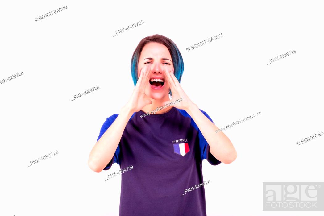 Stock Photo: Portrait of a young supporter of the French football team.