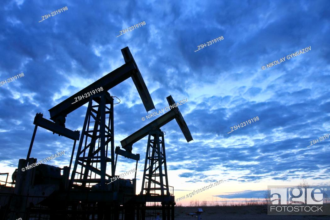 Stock Photo: Oil rocking pumps for the oil field.