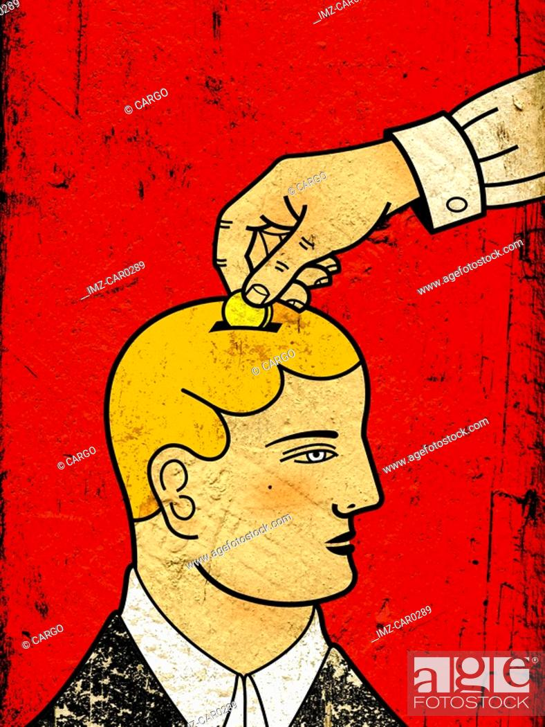 Stock Photo: A hand putting a coin into a mans head as though he were a piggy bank.