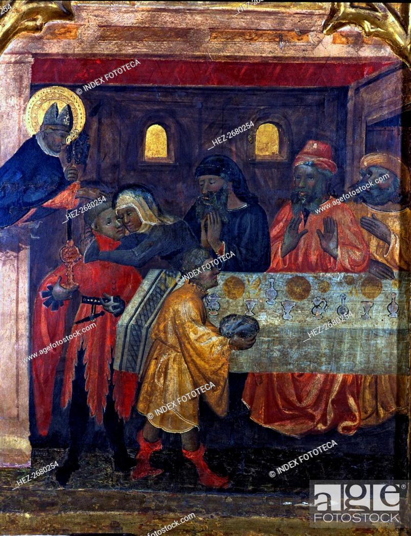 Stock Photo: Altarpiece of Saint Nicholas, Saint Claire and Saint Anthony. Table representing scenes of the li?.