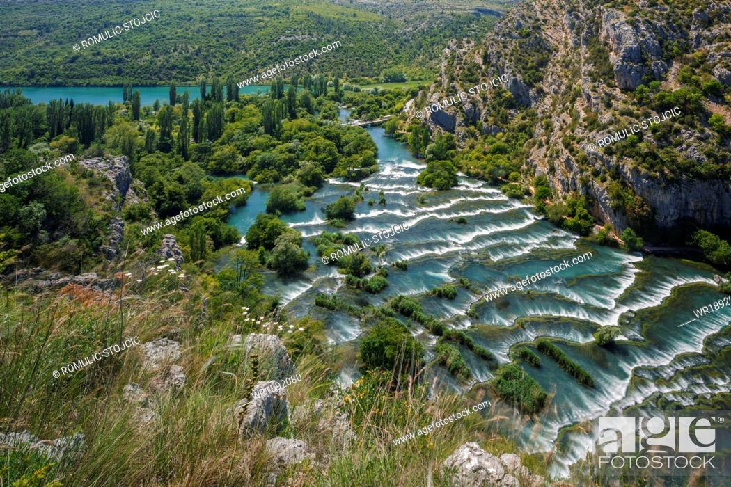 Stock Photo: Cascades on Roski Slap waterfall, Krka National Park, Croatia.